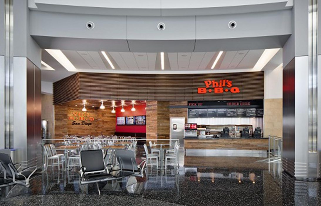 New location of Phil's BBQ in San Diego Airport Terminal 2 completed by PRAVA Construction.